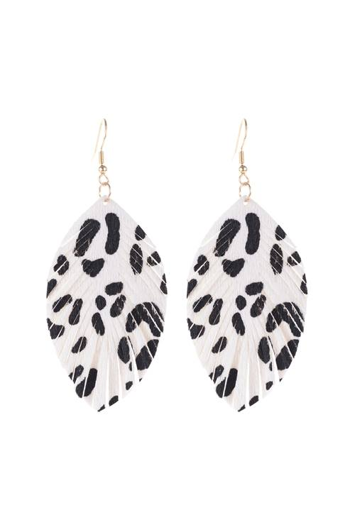 Leopard Leather Fringe Drop Earrings