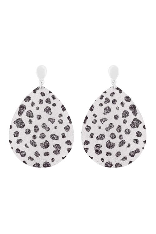 Silver Glitter Metal Leopard Earrings