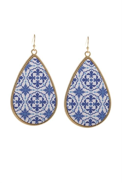 Sapphire Pattern Faux Leather Drop Earrings