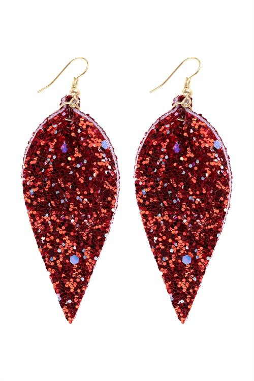 Pinched Sequin Leather Drop Earrings