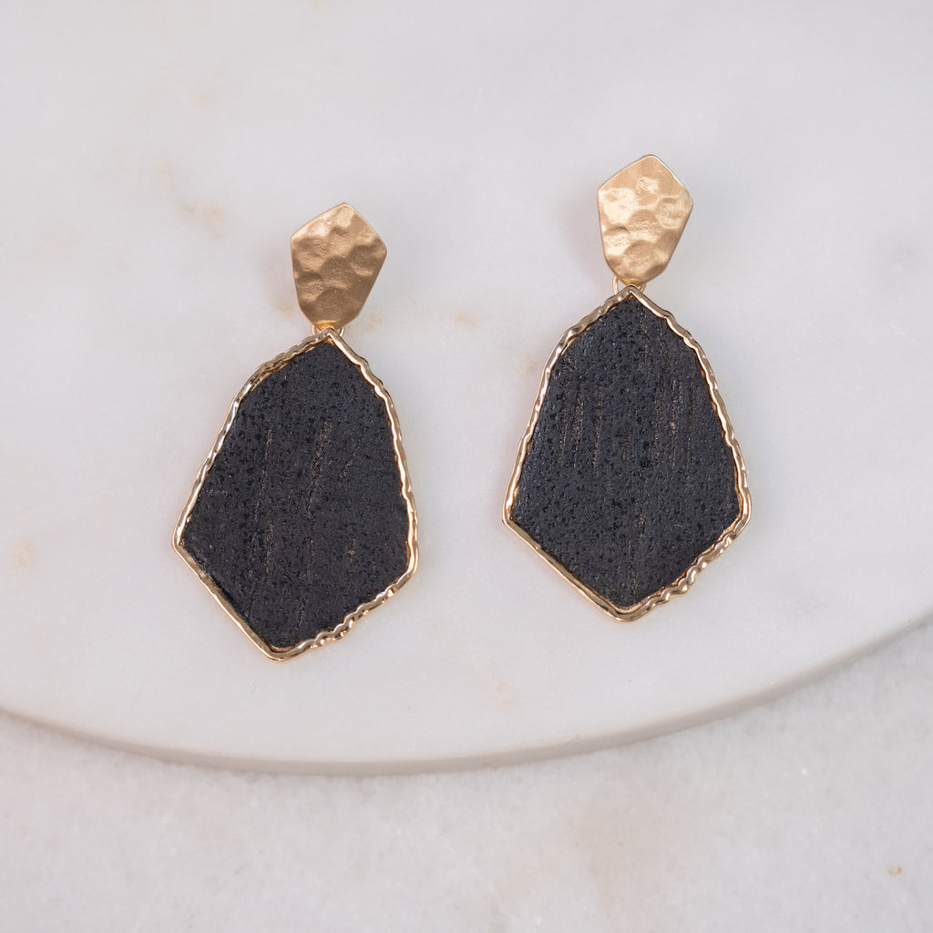 Meghan Cork Black & Gold Earrings