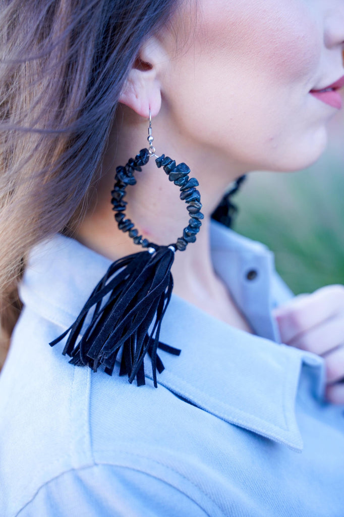 Pebble Hoop Earrings With Leather Tassels