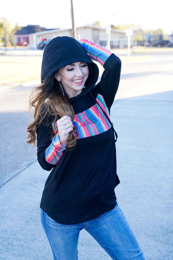 Frisco Black Hooded Long Sleeve Top With Serape Block