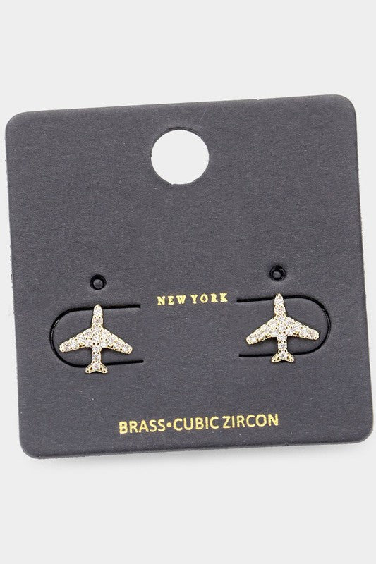 Silver Airplane Stud Earrings