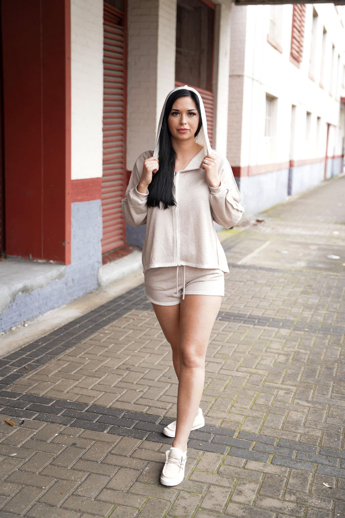 Jersey Taupe  Hooded Jacket & Shorts Set