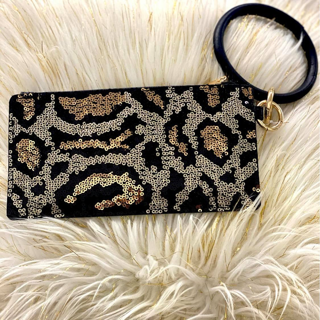 Sequin Leopard Clutch With Black Leather Bangle