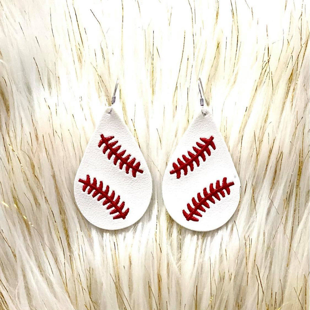 Leather Embroidered Teardrop Baseball Earrings