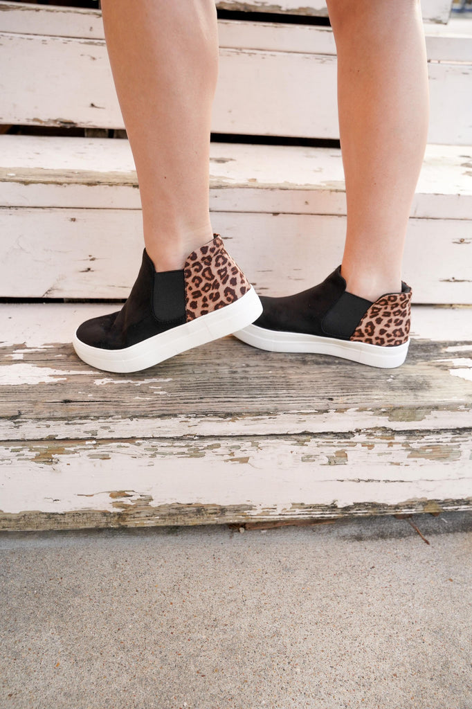 Black & Leopard Suede High Top Slip On Sneakers