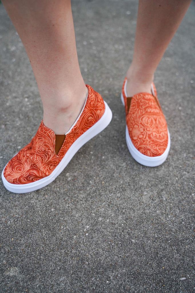 Rust Tooled Leather Canvas Slip On Sneakers