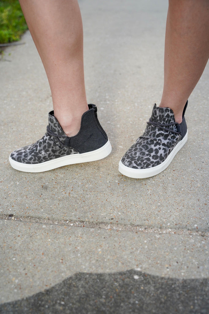 Charcoal Leopard High Top Slip On Sneakers With Back Zipper