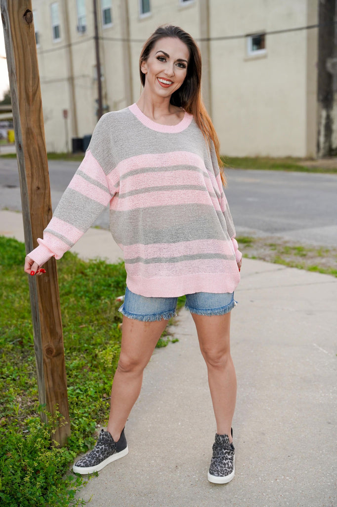 Oliver Pink & Grey Striped Pullover Knitted Sweater