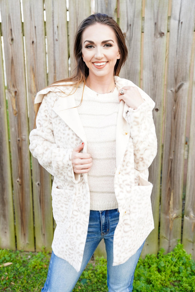 Elizabeth Light Beige Leopard Fuzzy Reversible Jacket