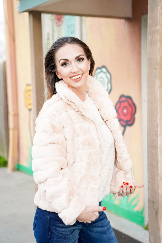 Liliana Beige Fur Collared Zip Up Jacket