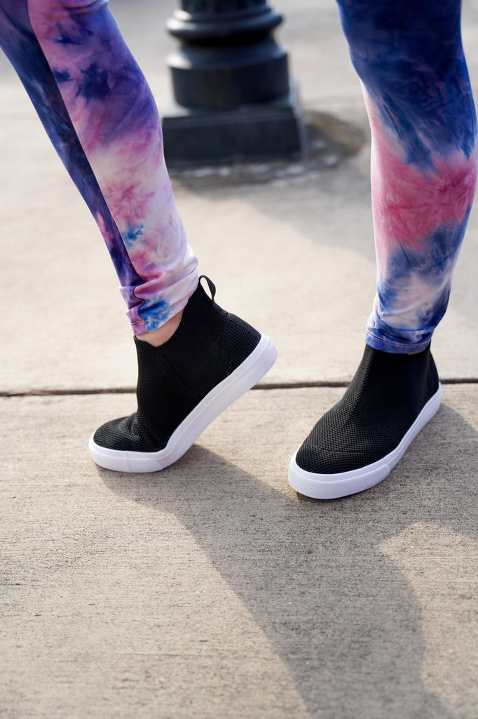Black Knitted Stretchy Slip On High Top Sneakers