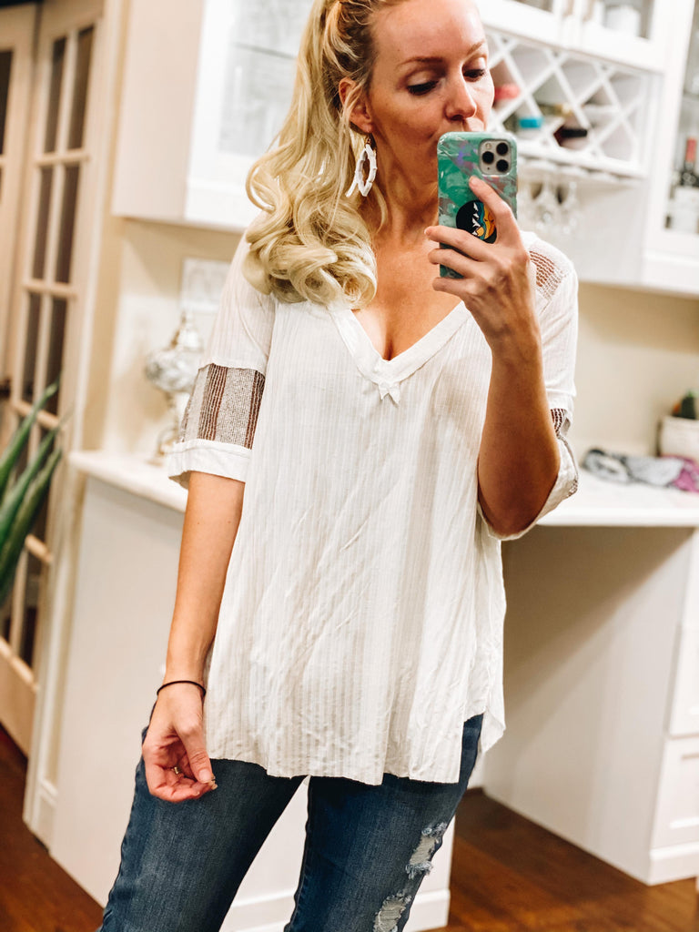 Jackson Ivory Ribbed Deep V-Neck Knit Top With Raw Edge