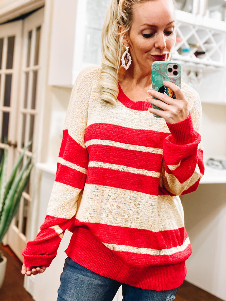 Oliver Hot Pink & Yellow Striped Pullover Knitted Sweater