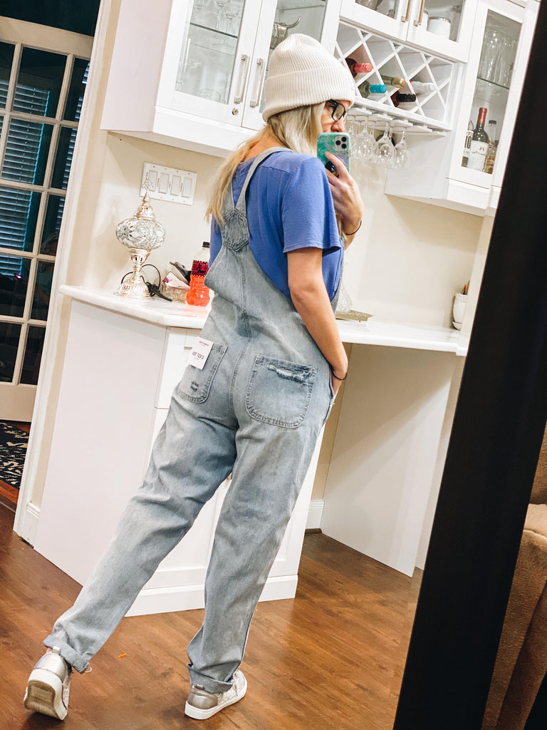 Matilda Light Wash Distressed Boyfriend Fit Overalls