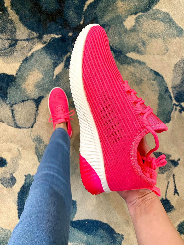 Neon Fuchsia Fly Knit Lace Up Sneakers