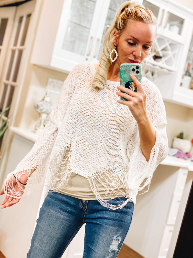 Eloise White Distressed Cropped Sweater