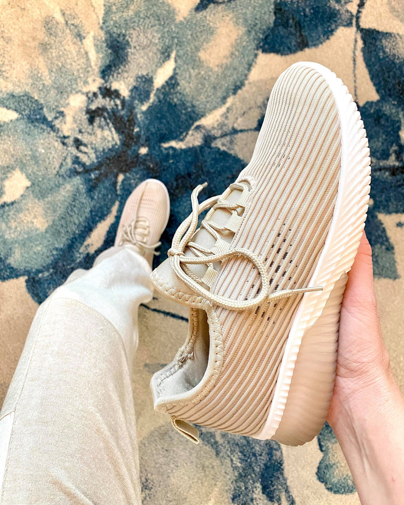 Taupe Fly Knit Lace Up Sneakers