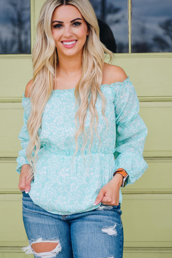 Adley Mint Floral Off The Shoulder Balloon Sleeve Top