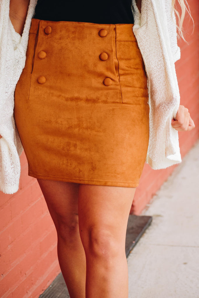 Betty Rust Faux Suede Double Breasted Button Skirt