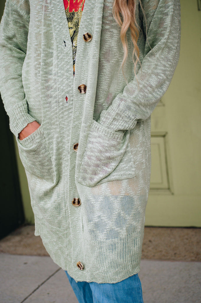 Martha Green Knitted Button Down Long Sleeve Cardigan