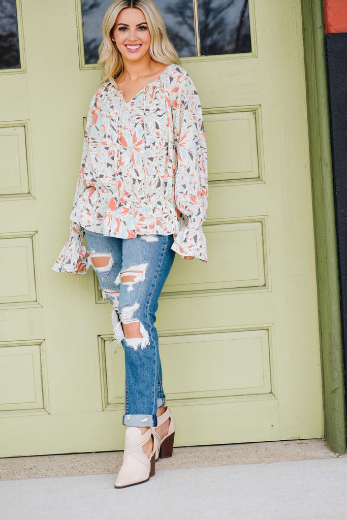 Carsten Blue & Coral Floral Long Sleeve Blouse