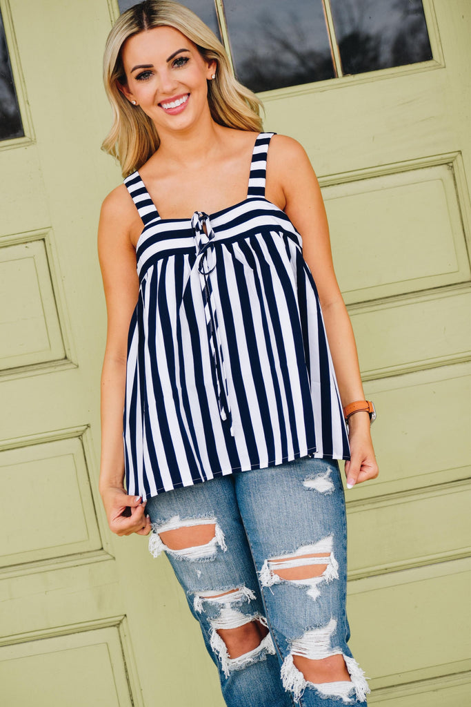 Marleen Navy & Ivory Striped Sleeveless Baby Doll Top