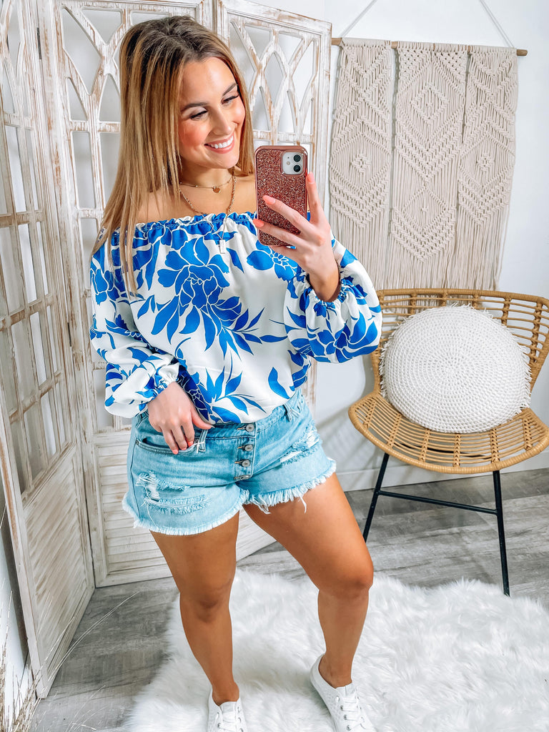 Greta Ivory And Navy Floral Off The Shoulder Bodysuit