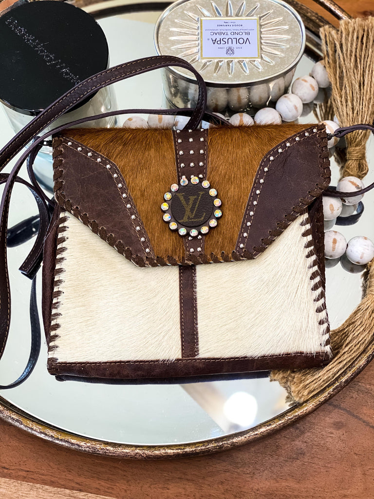 Small Upcycled  Leather & Hide Crossbody Thick Stitching