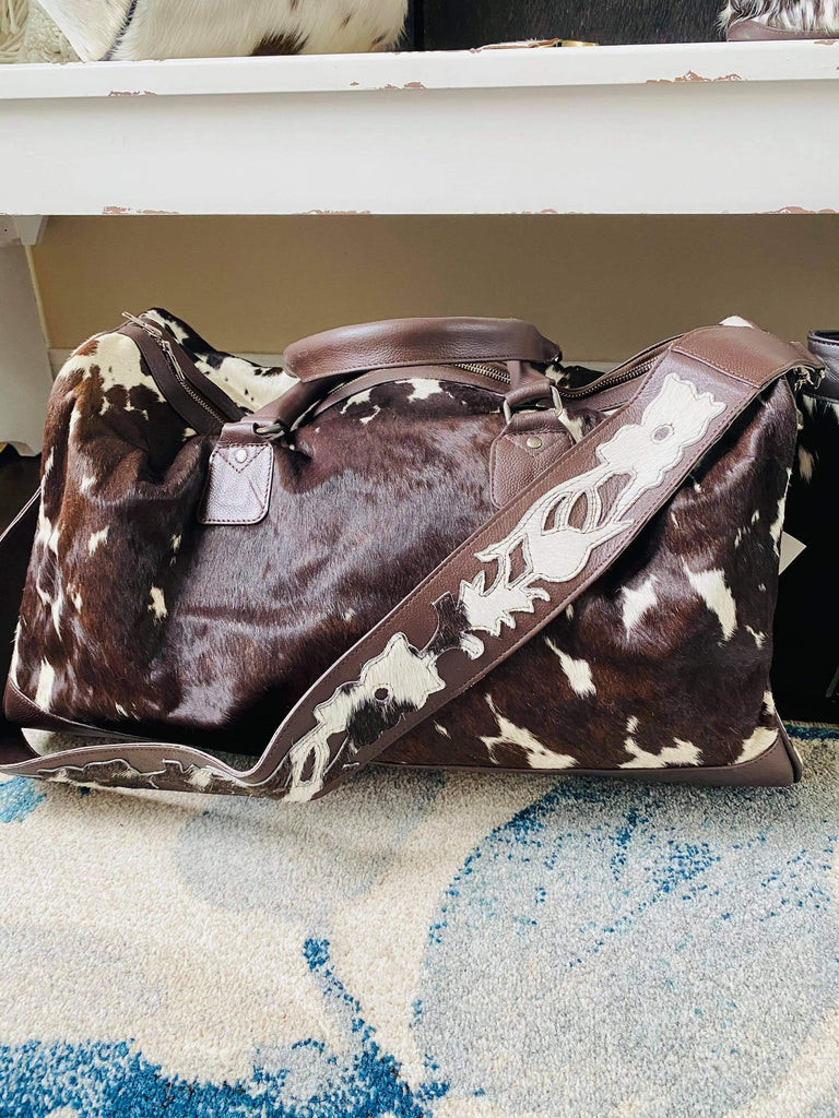 Leather & Dark Brown Cow Hide Bags/Accessories