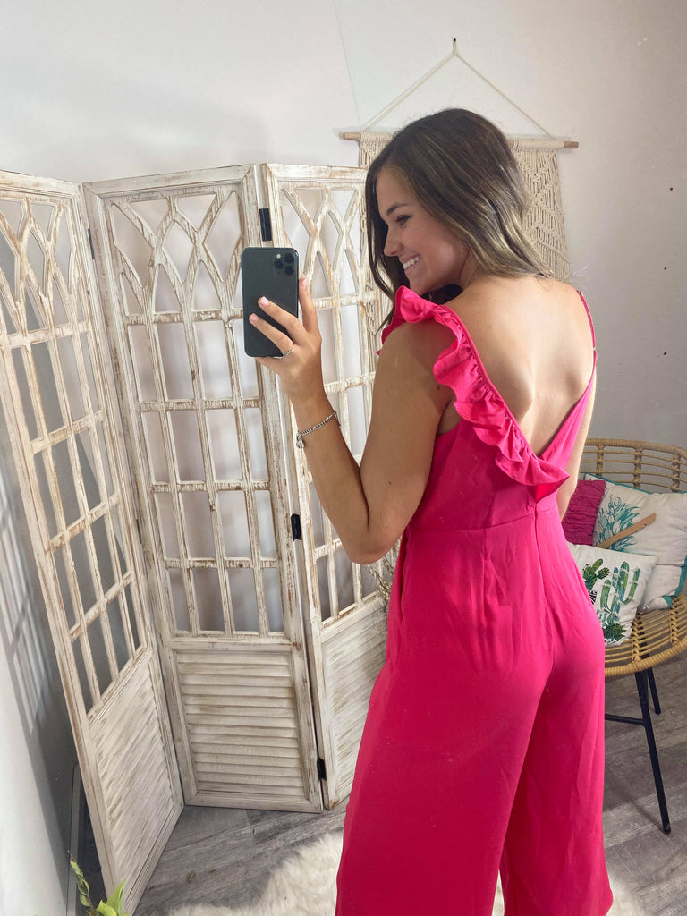 Maria Hot Pink Jumpsuit W/ Ruffle V-Neck