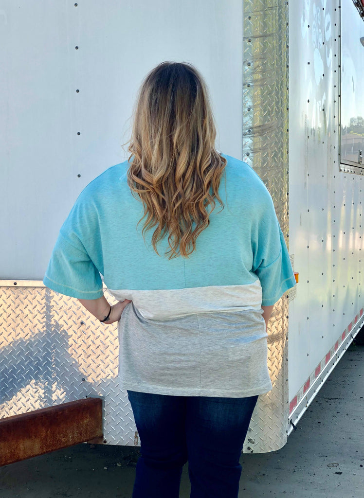 Curvy Girl Light Blue And Grey Striped Top, Tops - Sweet Bee Boutique