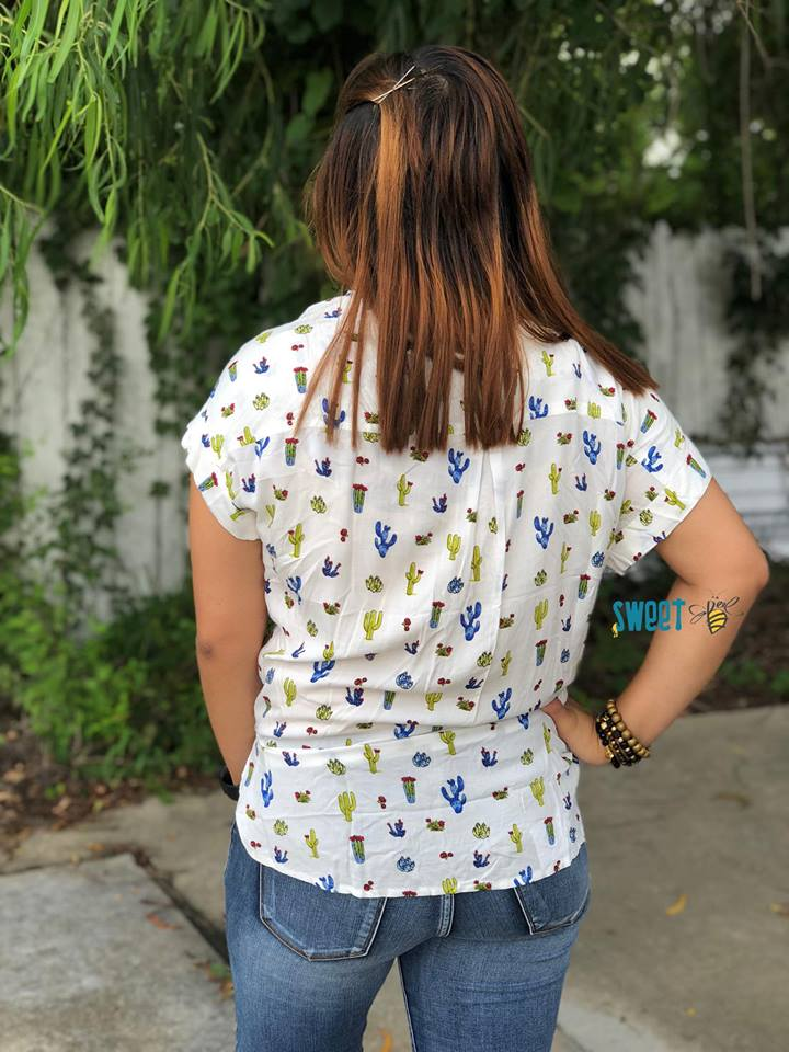 White Cactus Conversational Button Down Tops, Tops - Sweet Bee Boutique