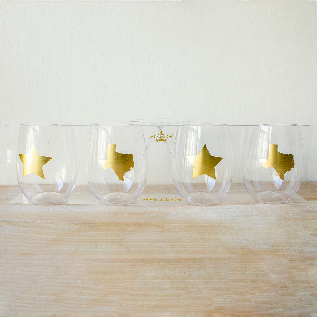 Set Of 4 Plastic Texas To Go 15oz Wine Glasses