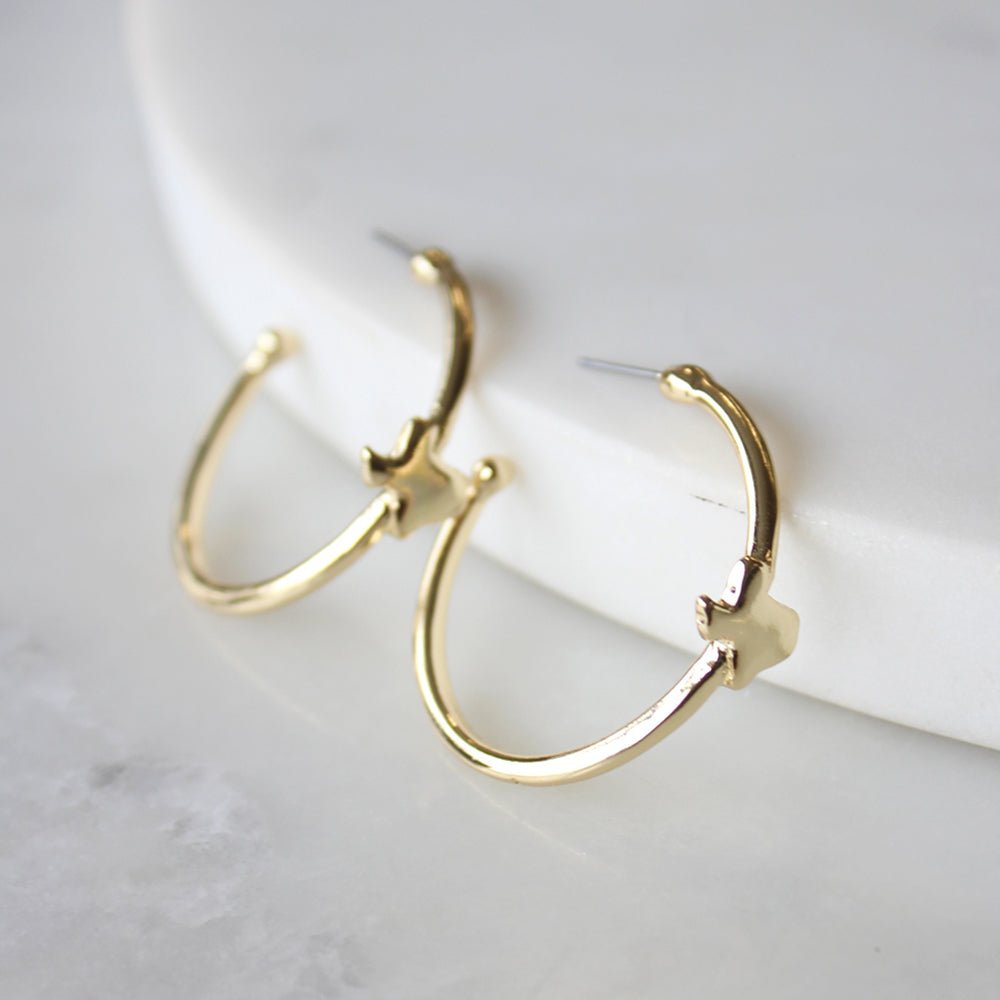 Gold Texas Hoop Earrings