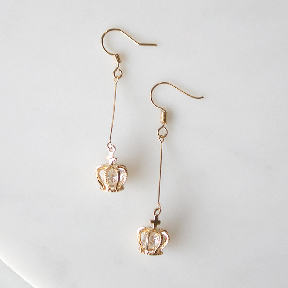 Gold Antoinette Crown Earrings