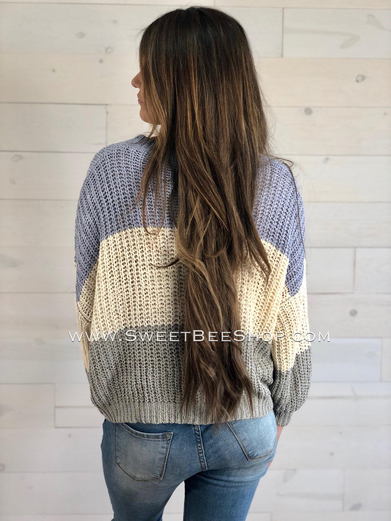 Long Bubble Sleeve Color Blocked Knitted Sweater, Tops - Sweet Bee Boutique