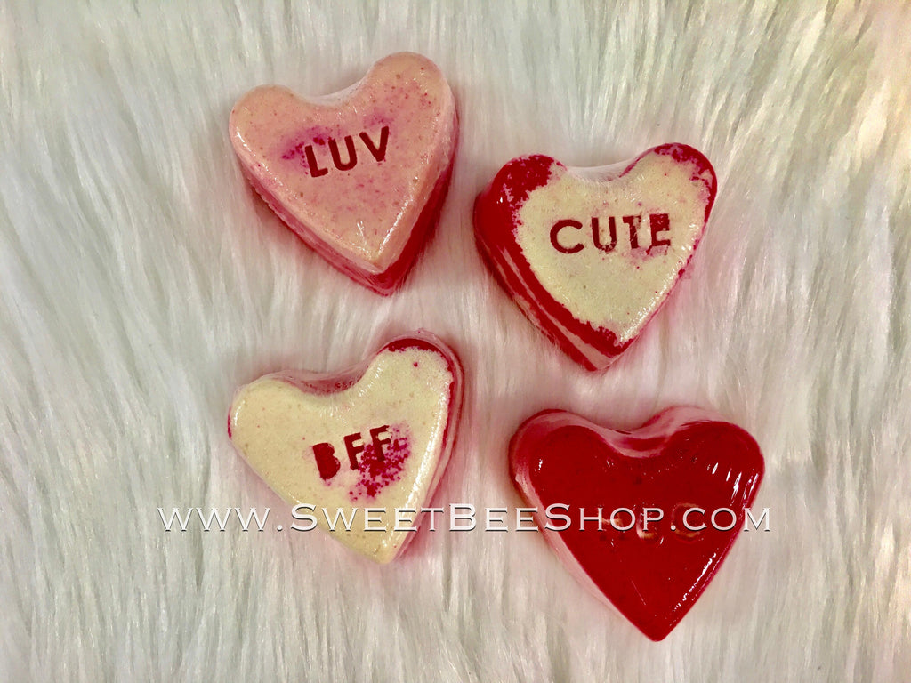 New Valentines Shaped Bath Bombs with Fun Designs, Bath & Body - Sweet Bee Boutique