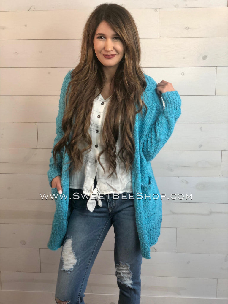 Teal Sweater Cardigan with Pockets, Tops - Sweet Bee Boutique