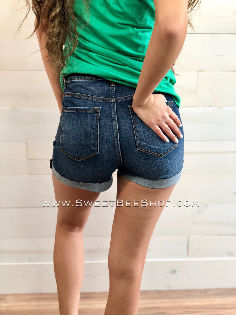 RESTOCKED - Kancans Dark Wash High Rise Shorts with Frayed Pockets-Bottoms-Sweet Bee Boutique