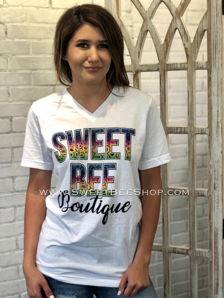 VIP Sweet Bee Boutique Bella Canvas White Snake Skin  Tee, Tops - Sweet Bee Boutique