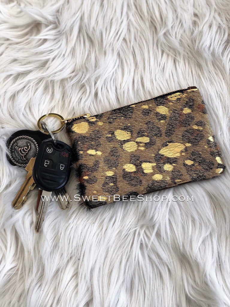 Genuine Leather and Fur Hide Zip up Coin Pouch-Bags & Purses-Sweet Bee Boutique