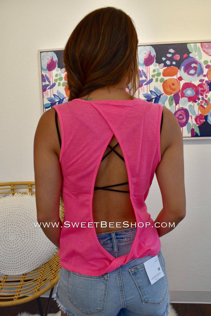 Neon Pink Open Back Sleeveless Top-Tops-Sweet Bee Boutique