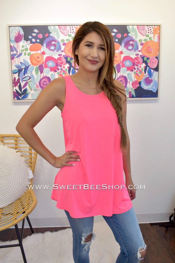Molly Neon Pink Bulgari Tank, Tops - Sweet Bee Boutique