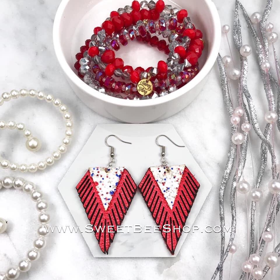 Red and White Glitter Diamond Shape Fringe Earrings, jewelry - Sweet Bee Boutique