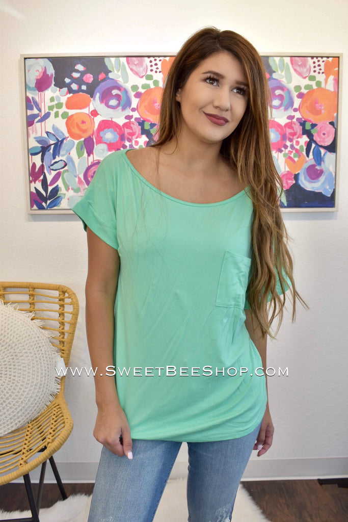 Brooklyn Mint Green Top With Pocket Detail-Tops-Sweet Bee Boutique