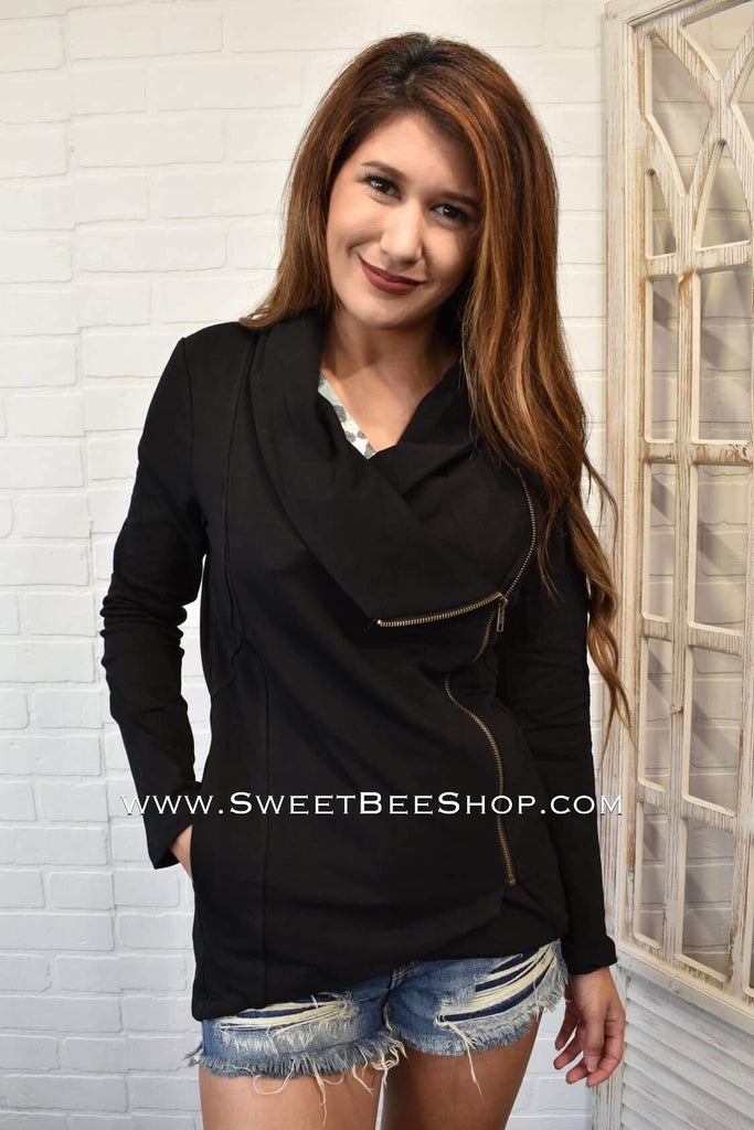 Katherine Black French Terry Solid Side Zip Jacket, Jacket - Sweet Bee Boutique