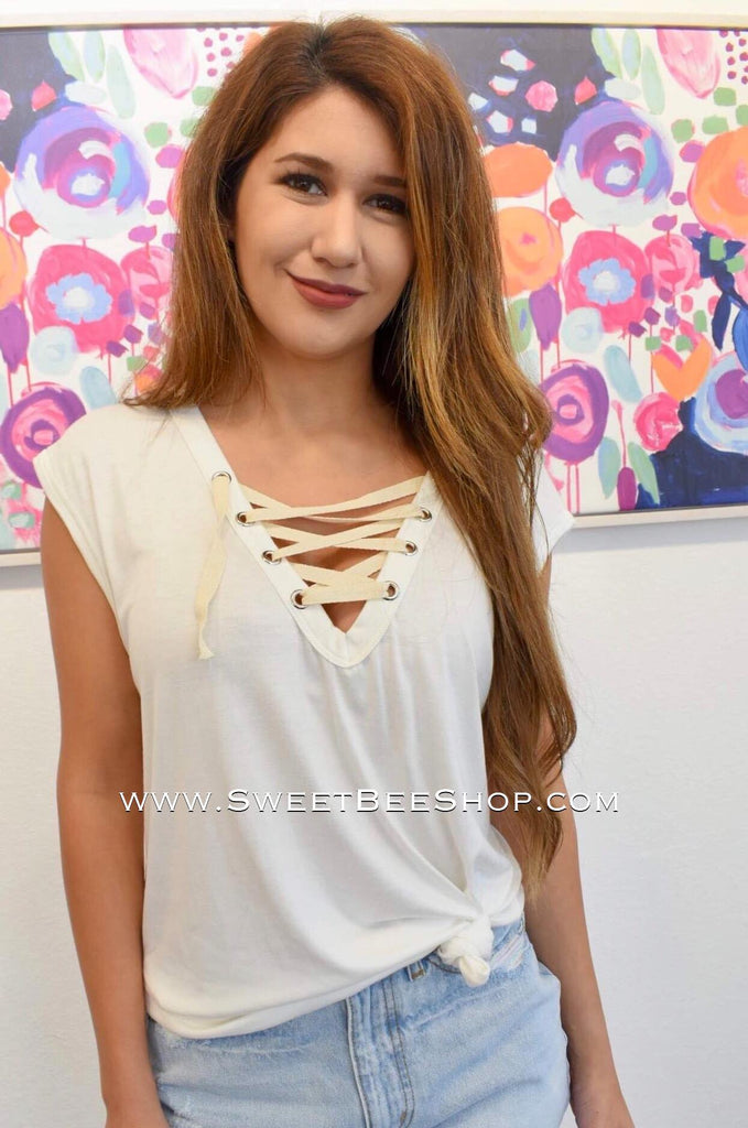 Off White Jersey Knit Terry Lace Up Top-Tops-Sweet Bee Boutique